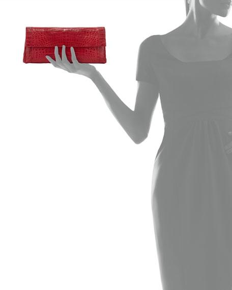 Gotham Crocodile Flap Clutch Bag, Red