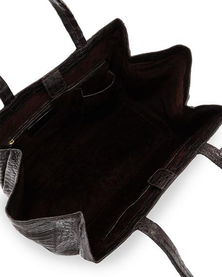 Large Soft Crocodile Gusset Tote Bag, Ash Brown