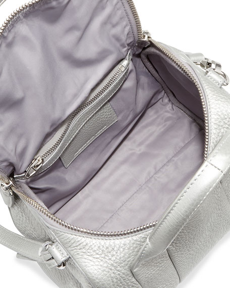 Rockie Dumbo Stud-Bottom Satchel Bag, Platinum