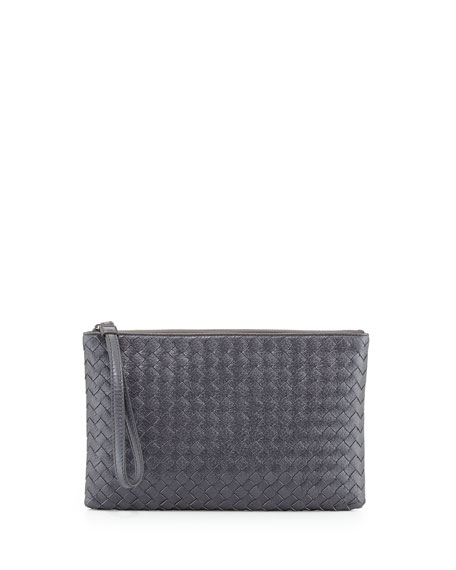 Extra-Large Cosmetics Wristlet Bag, New Light Gray