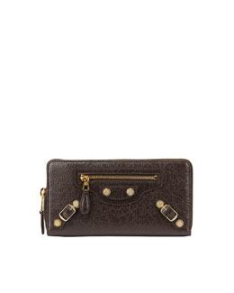Balenciaga Giant Golden Continental Zip Wallet, Charbon