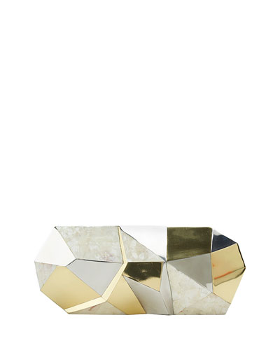 Maryanne Faceted Shell Minaudiere, Ivory Multi