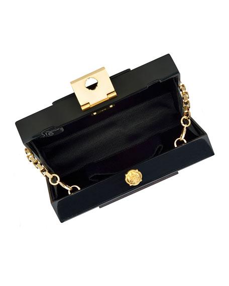Alicia Lucite Clutch Bag, Brown/Black