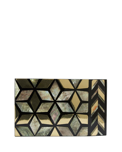 Solenn Shell Minaudiere, Black/Gold