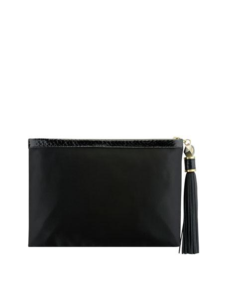 Celia Large Beaded Satin Clutch Bag, Black