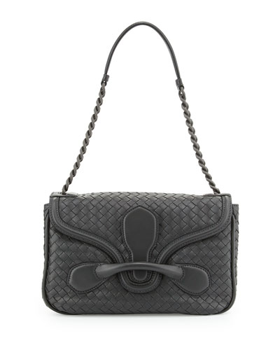 Bottega Veneta Medium Flap-Tab Shoulder Bag, Ardoise Dark Gray