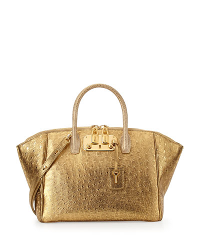 Brera 32 Metallic Ostrich Satchel Bag, Gold
