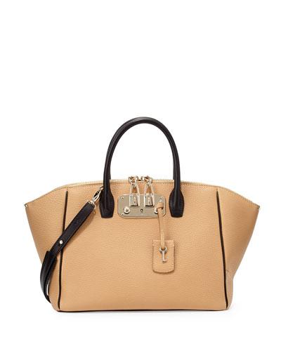 Brera 32 Two-Tone Leather Satchel Bag, Camel/Black