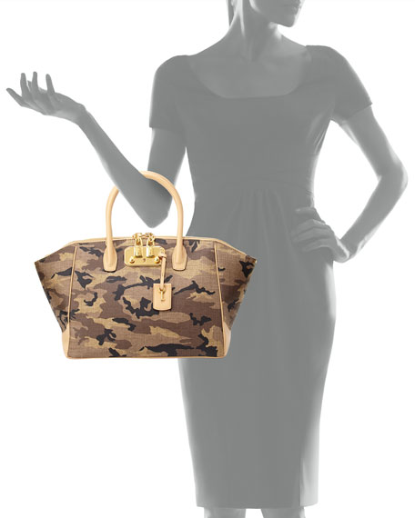 Brera 34 Camo-Print Satchel Bag, Khaki Multi