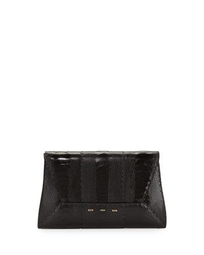 Manila 30 Ostrich Clutch Bag, Black