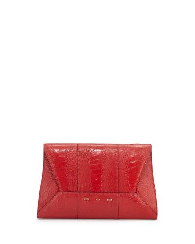 Manila 30 Ostrich Clutch Bag, Red