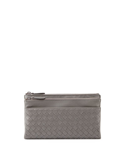 Woven Leather Bifold Wallet, New Light Gray