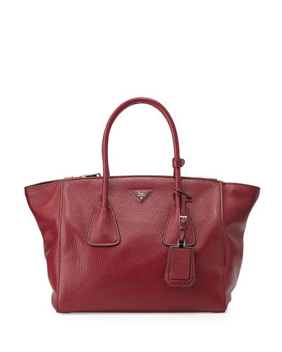 Prada Cervo Large Double-Zip Tote Bag, Red (Rubino)