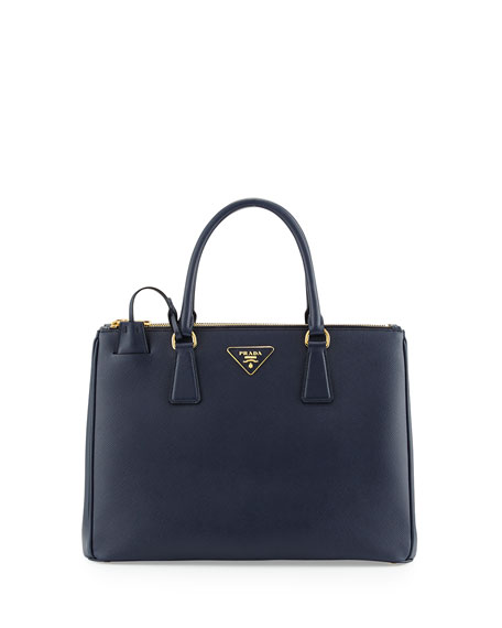 Prada Saffiano Double-Zip Executive Tote Bag, Dark Navy