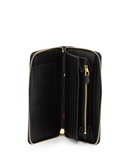 authentic prada purse - Prada Textured Leather Travel Wallet, Black (Nero)