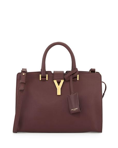 Saint Laurent Y-Ligne Cabas Mini Leather Bag, Bordeaux