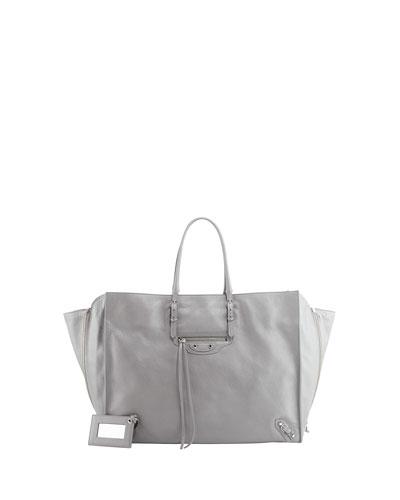 Balenciaga Papier A4 Side Zip Tote Bag, Gris Metal