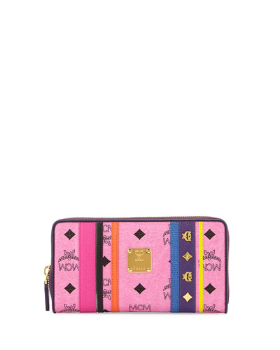Visetos Monogram Striped Wallet, Pink