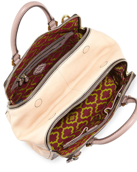 Justine Leather Top-Zip Satchel Bag, Mushroom Multi