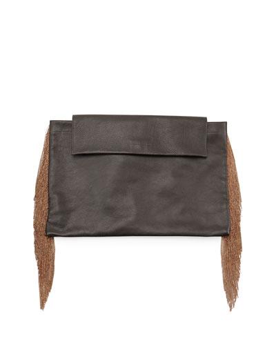 Brunello Cucinelli Monili Large Fringe Clutch Bag, Black