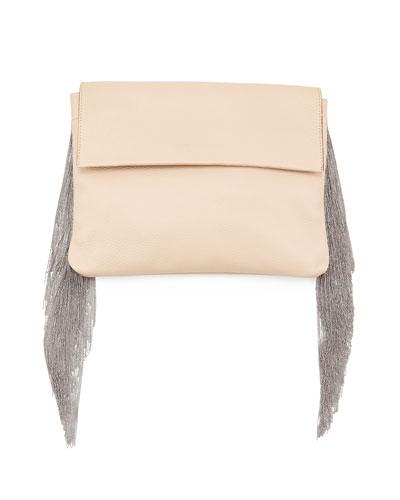 Brunello Cucinelli Monili Small Fringe Clutch Bag, Nude
