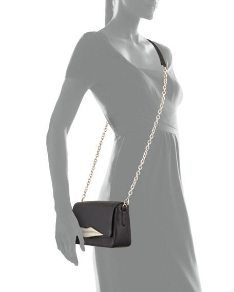 Flirty Mini Leather Crossbody Bag, Black