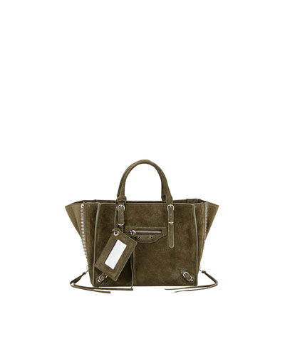 Balenciaga Papier A4 Mini Suede Tote Bag, Vert Olive