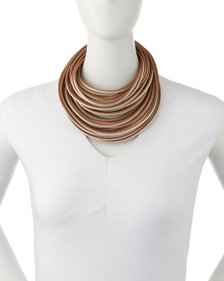 Multi-Strand Leather Necklace, Vanilla