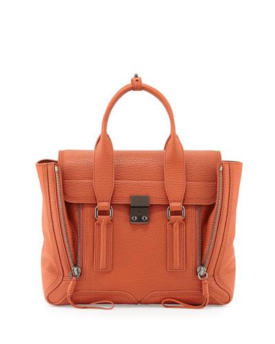 3.1 Phillip Lim Pashli Medium Zip Satchel Bag, Persimmon