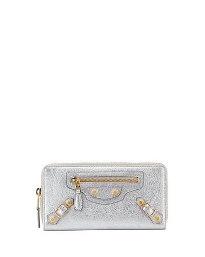 Balenciaga Calfskin Giant Zip Wallet, Gris