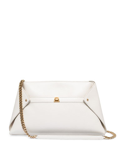 Ai Medium Leather Clutch Bag, Ivory
