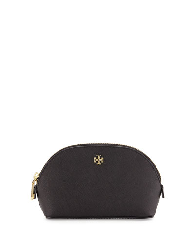 York Small Saffiano Makeup Bag, Black