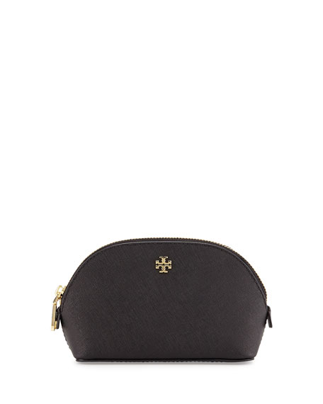 York Small Saffiano Makeup Bag, Black