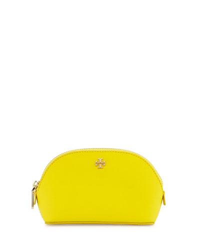 York Small Saffiano Makeup Bag, Sunshine