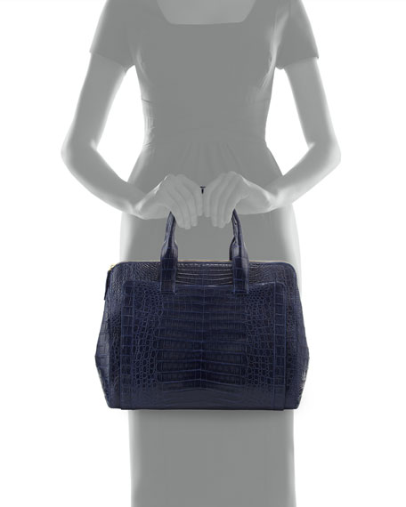 Large Modern Double-Zip Crocodile Tote Bag, Navy Matte