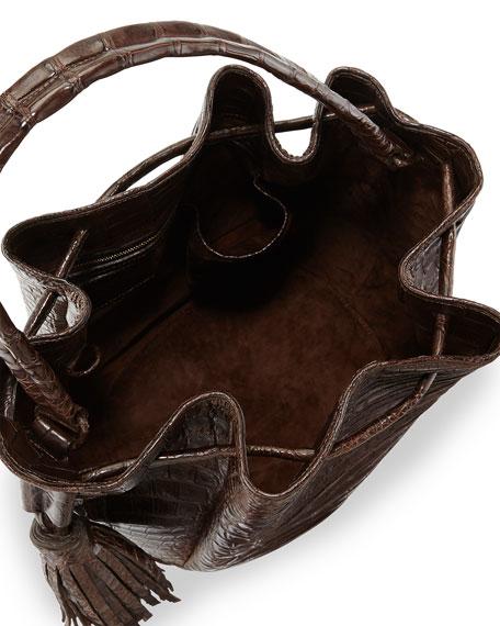 Crocodile Tassel Bucket Bag, Brown