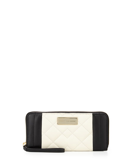 MARC by Marc Jacobs Moto Quilted Slim Zip-Around Wallet, Taupe Gray Multi