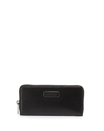 Ligero Leather Slim-Zip Wallet, Black