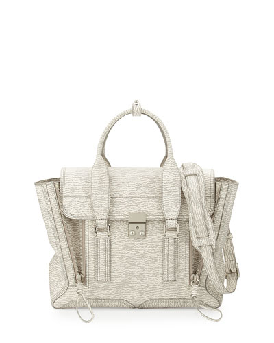 3.1 Phillip Lim Pashli Medium Zip Satchel Bag, Ivory/Dove