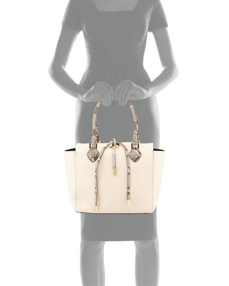 Miranda Medium Python-Trim Tote Bag, Vanilla