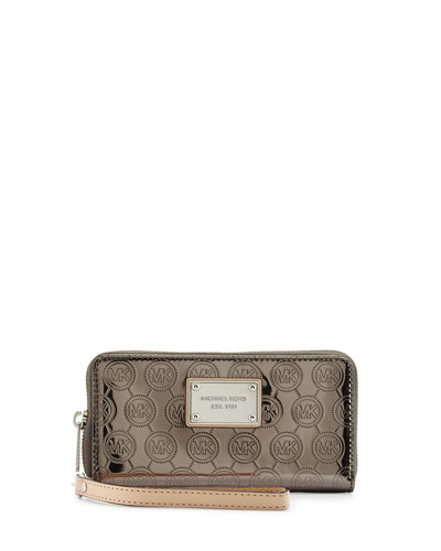 Jet Set Multifunction Phone Wristlet Wallet, Nickel
