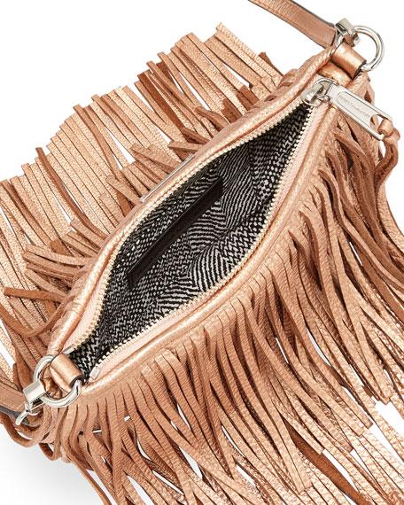 Finn Metallic Fringe Crossbody Bag, Rose Gold