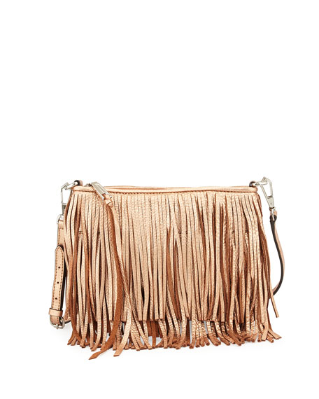 Rebecca Minkoff Finn Metallic Fringe Crossbody Bag, Rose Gold