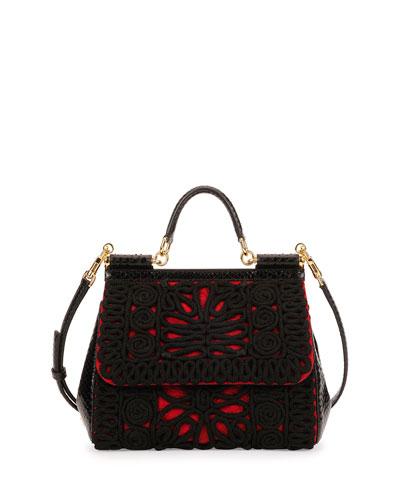 Dolce & Gabbana Miss Sicily Embroidered Snake Satchel Bag, Red/Black