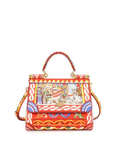 Dolce & Gabbana Miss Sicily Printed Satchel Bag