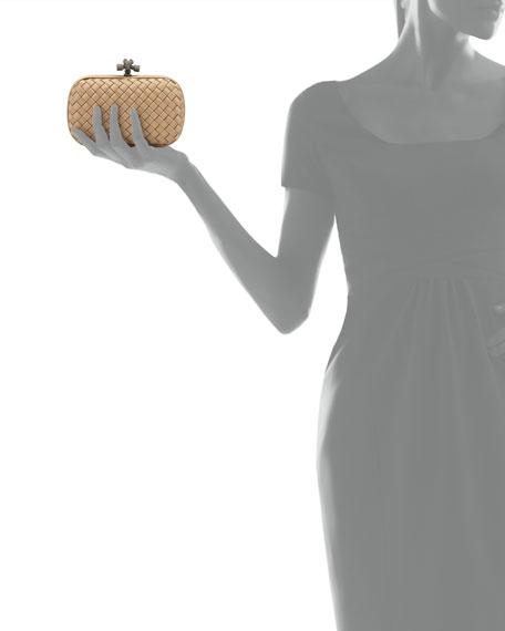 Woven Satin Knot Minaudiere, Walnut