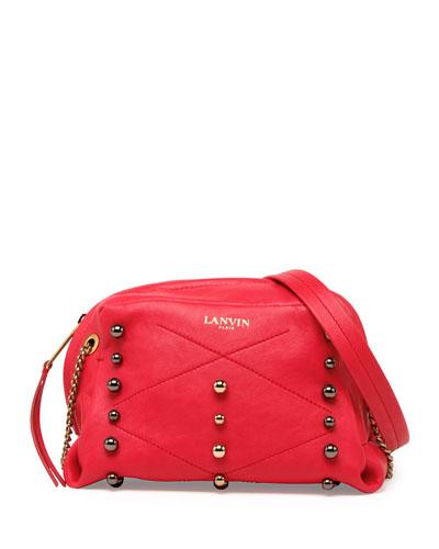 Lanvin Sugar Mini Studded Crossbody Bag, Raspberry