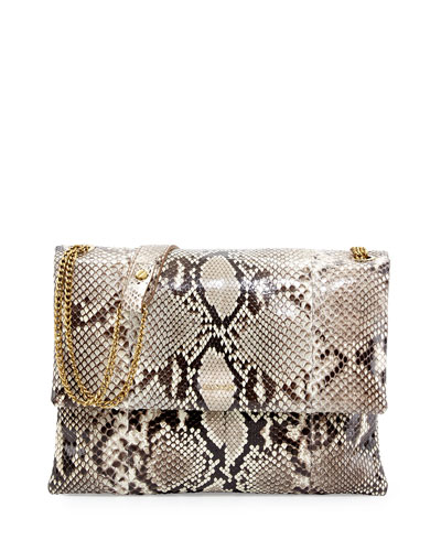 Lanvin Sugar Medium Python Shoulder Bag, Natural