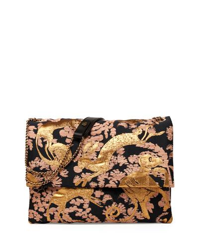 Lanvin Sugar Monkey Jacquard Medium Shoulder Bag, Black/Gold