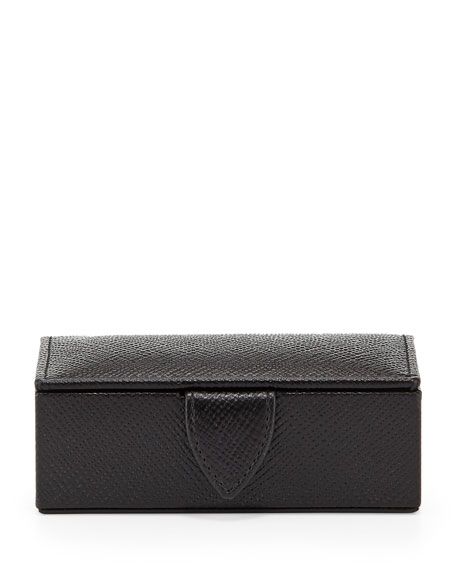 Smythson Panama Mini Cuff Link Box, Black